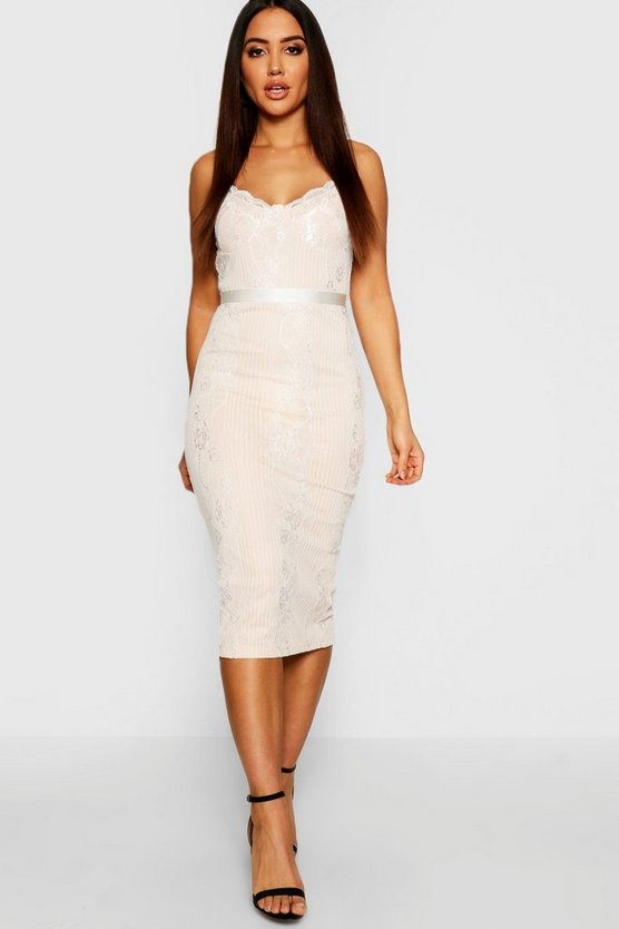Womens Ivory Eyelash Lace Detail Midi Dress