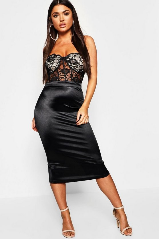 Bustier Piping Lace Bandeau Midi Dress