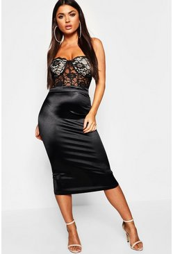 Womens Bustier Piping Lace Bandeau Midi Dress