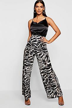 Sequin Effect Leopard Print Wide Leg Pants