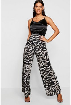 Womens Black Sequin Effect Leopard Print Wide Leg Trousers