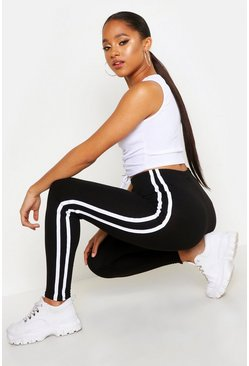 Leggings con raya lateral doble, Negro, Mujer