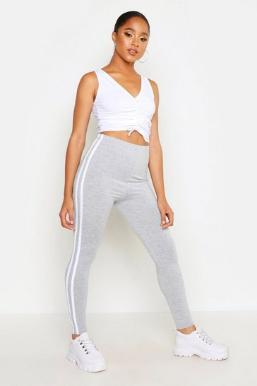 Womens Grey Double Side Stripe Legging