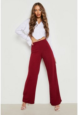 Berry High Waist Basic Crepe Wide Leg Trousers