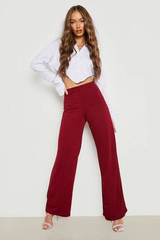 Womens Berry High Waist Basic Crepe Wide Leg Trousers
