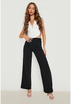 Black High Waist Basic Crepe Wide Leg Pants
