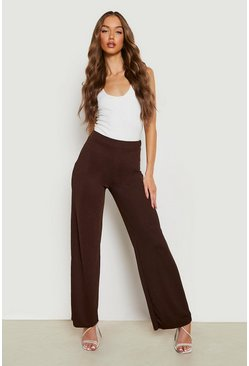 Womens Chocolate High Waist Basic Crepe Wide Leg Pants