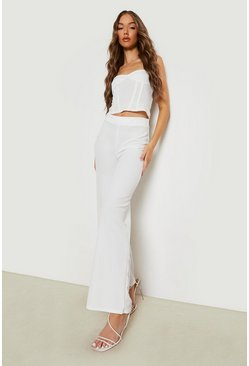 Ivory High Waist Basic Crepe Wide Leg Trousers