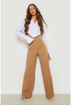 Sand High Waist Basic Crepe Wide Leg Trousers