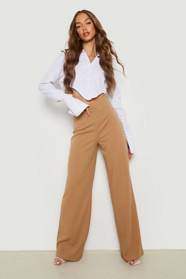 Womens Sand High Waist Basic Crepe Wide Leg Trousers