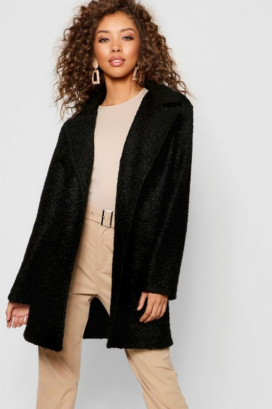 Black Teddy Faux Fur Boyfriend Coat