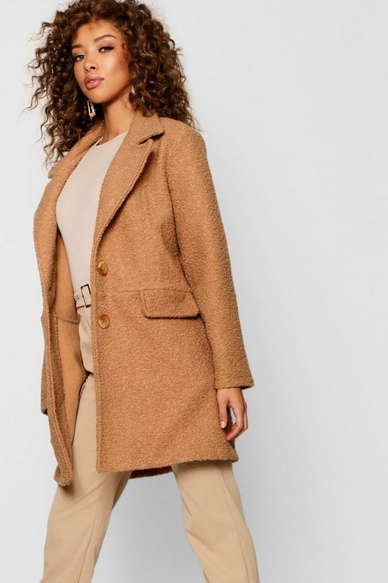 Womens Camel Teddy Faux Fur Boyfriend Coat