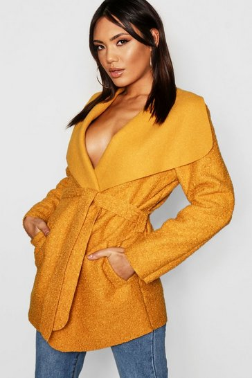 Womens Belted Waterfall Faux Fur Teddy Coat
