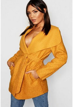Womens Mustard Belted Waterfall Faux Fur Teddy Coat
