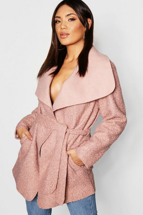 Belted Waterfall Faux Fur Teddy Coat