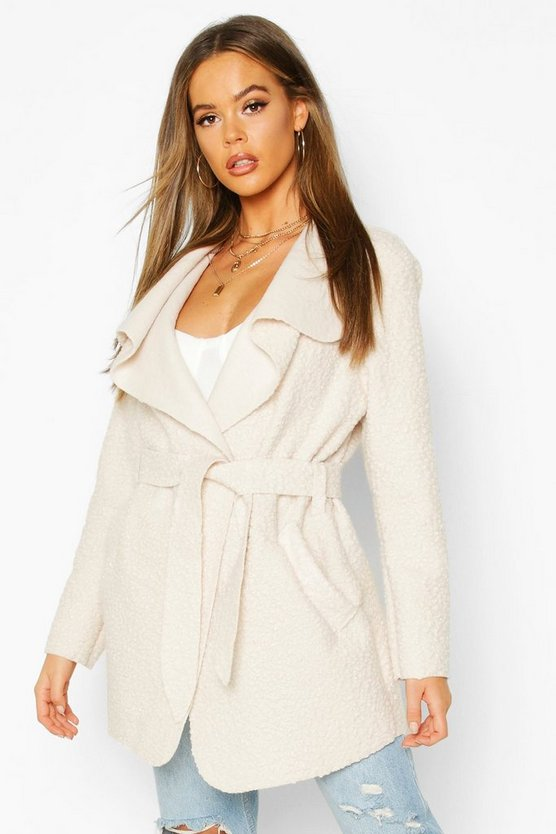 Stone Belted Waterfall Faux Fur Teddy Coat