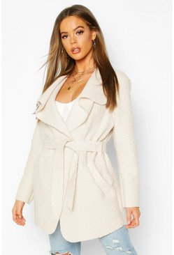 Womens Stone Belted Waterfall Faux Fur Teddy Coat
