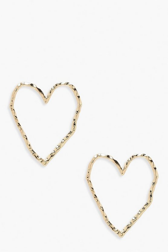 Womens Gold Hammered Heart Stud Earrings