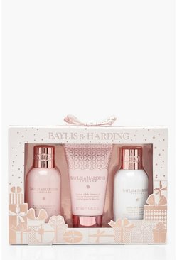 Womens Pink Baylis & Harding Silk & Almond Oil 3 Pk Set