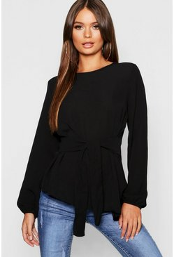 Womens Black Asymmetric Hem Belted Woven Top