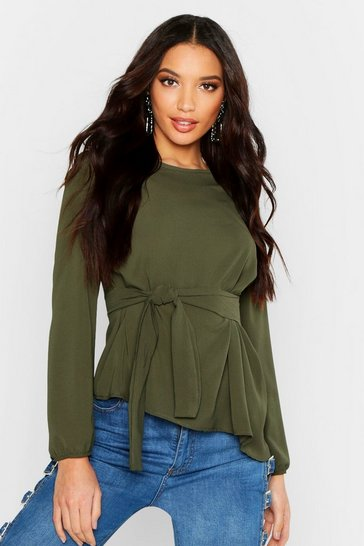 Womens Khaki Asymmetric Hem Belted Woven Top
