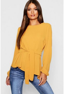 Womens Mustard Asymmetric Hem Belted Woven Top