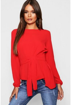 Red Asymmetric Hem Belted Woven Top