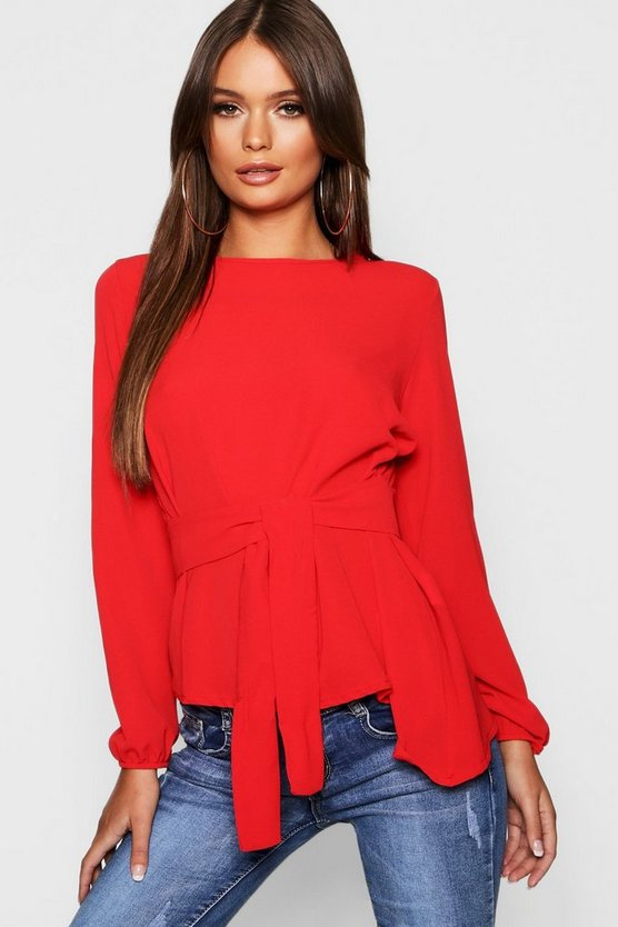 Womens Red Asymmetric Hem Belted Woven Top