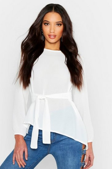 Womens White Asymmetric Hem Belted Woven Top