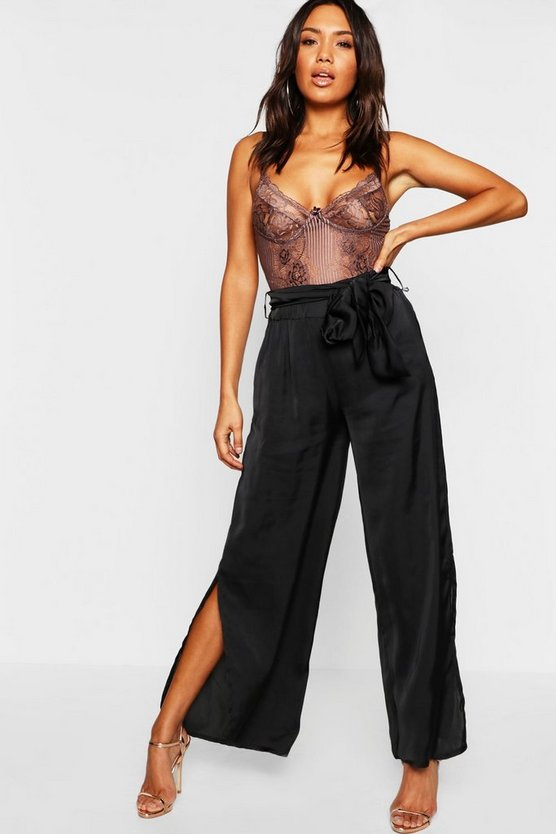 Hammered Satin Wide Leg Trouser