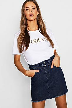 Elastic Ruffle Waist Denim Mini Skirt