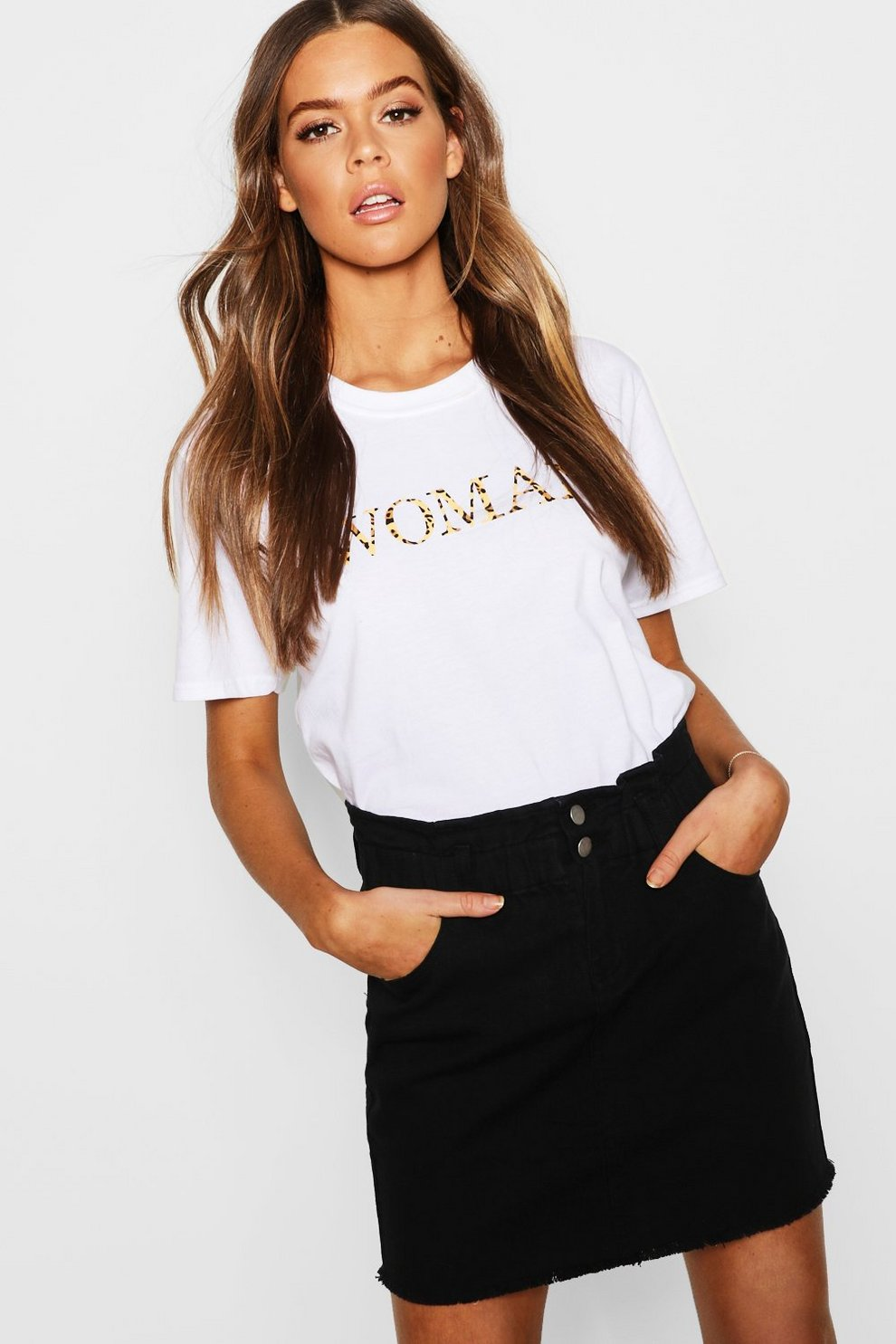 c8a0ea8020 Womens Black Elastic Ruffle Waist Denim Mini Skirt