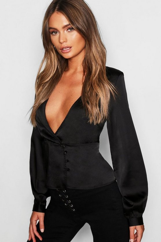 Womens Black Satin Peplum Hem Wrap Blouse