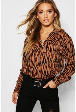 Womens Terracotta Zebra Print Pocket Detail Shirt