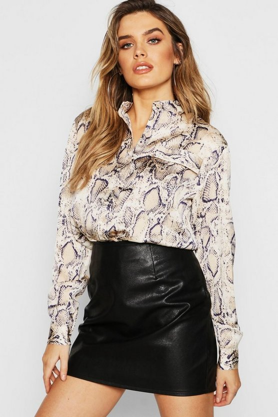Satin Snake Print Collarless Shirt