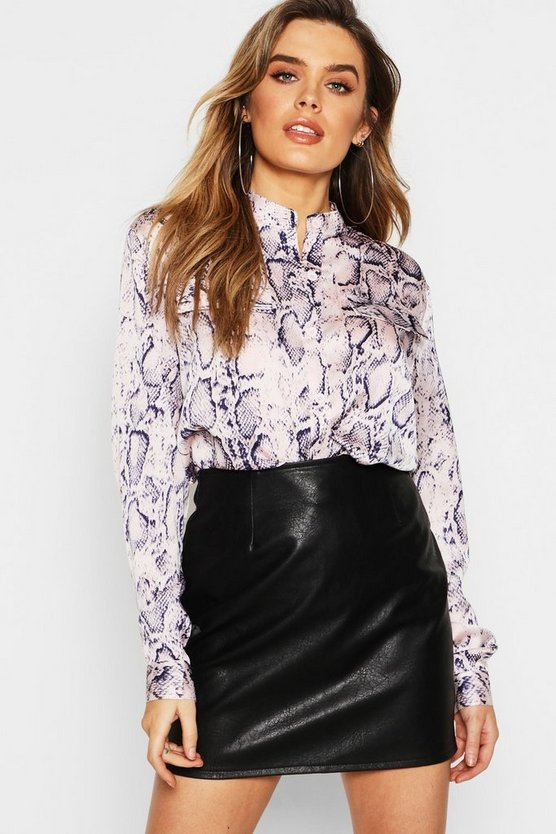 Womens Blush Satin Snake Print Collarless Shirt