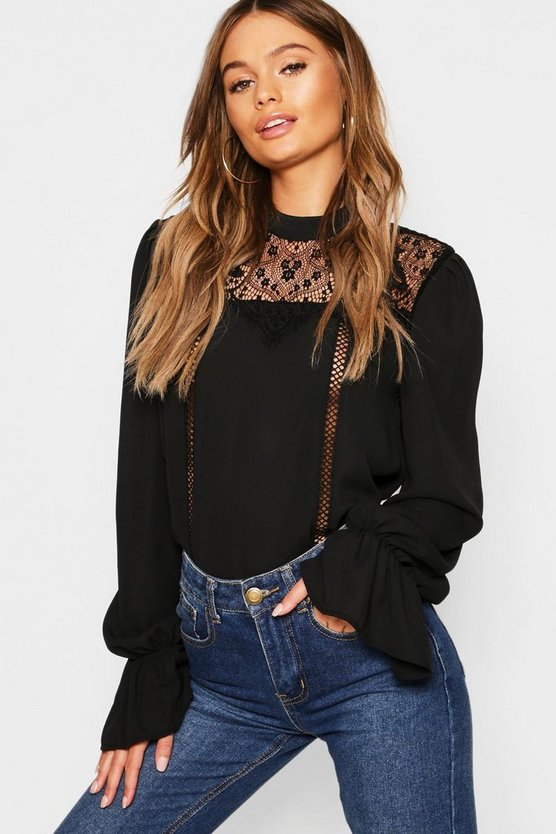 Black Lace Insert High Neck Blouse