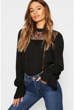 Womens Black Lace Insert High Neck Blouse