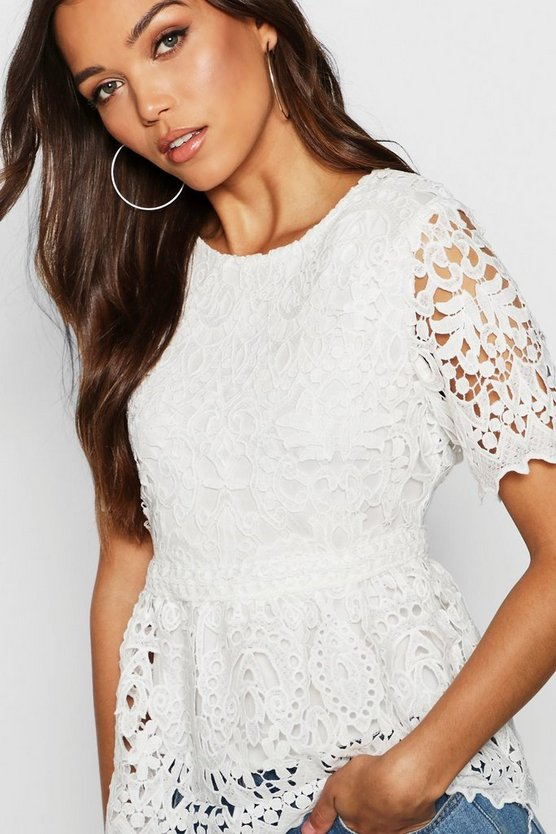 Premium Lace Scallop Edge Peplum Top