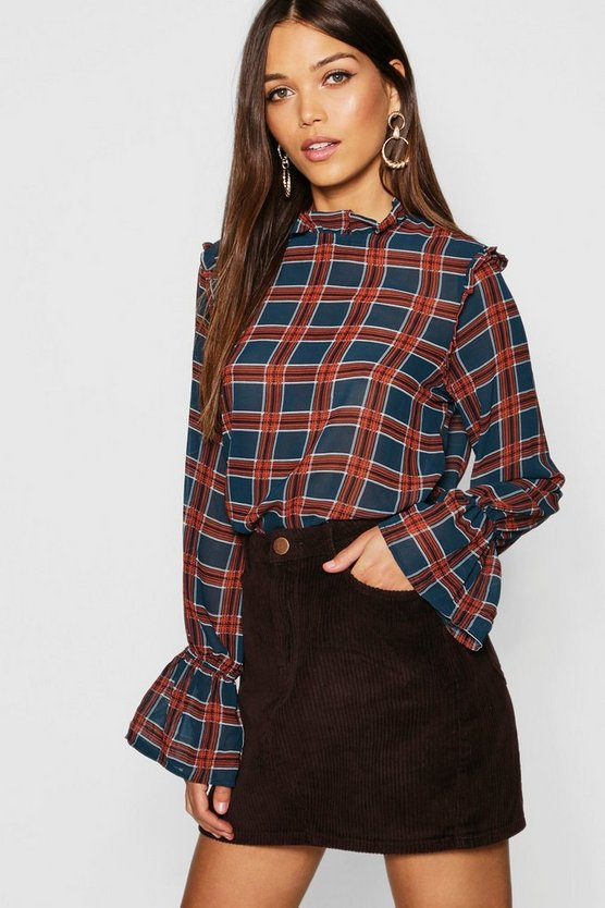 Tartan Check Ruffle High Neck Blouse