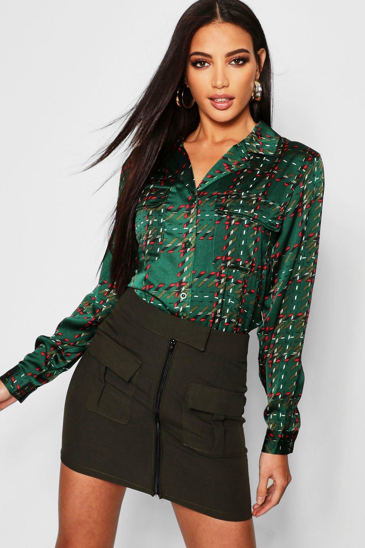 Satin Check Pocket Detail Shirt