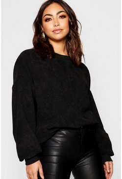 Womens Black Oversized Cord Jumper