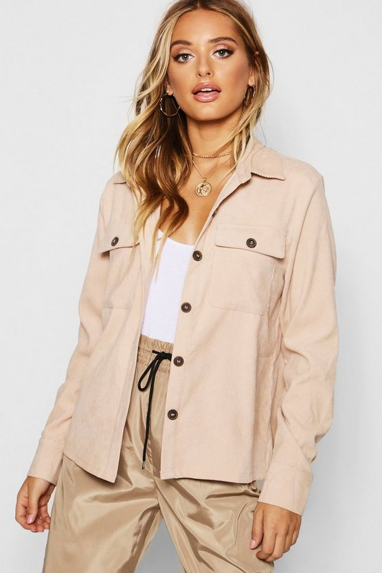 Apricot Cord Horn Button Oversized Shirt