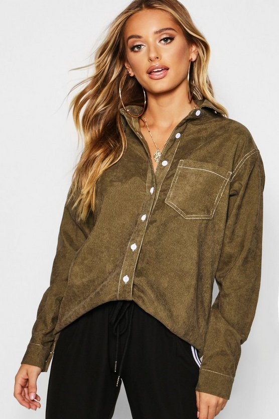 Contrast Stitch Cord Utility Shirt