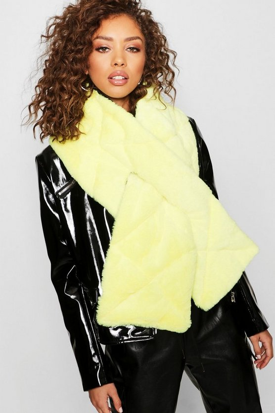 Womens Black Reversible Neon Faux Fur Padded Scarf