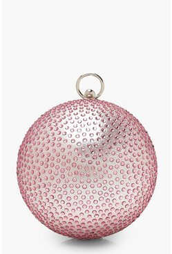 Womens Pink Diamante Sphere Clutch Bag