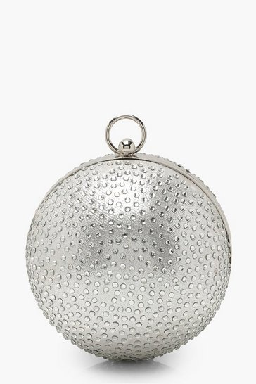 Womens Silver Diamante Sphere Clutch Bag