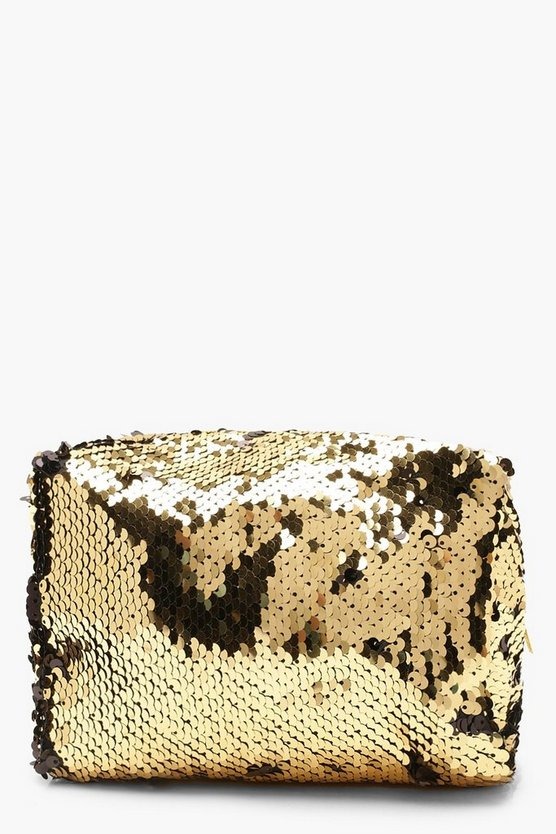 Womens Gold Metallic Sequin Make Up Bag