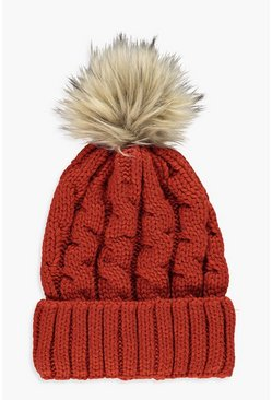 Womens Rust Chunky Cable Faux Fur Beanie