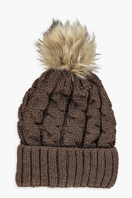 Womens Mink Chunky Cable Faux Fur Beanie